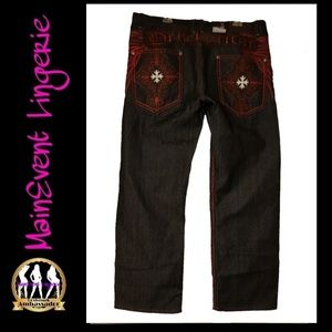 Other - Mens Embroidery Graphic Denim Jeans (40)